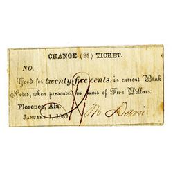 "Florence 1862 ""Change Ticket"" Scrip Note."
