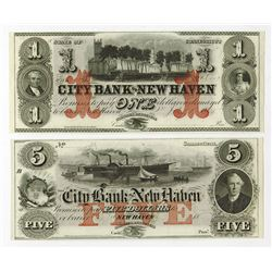 City Bank of New Haven, 18xx (ca.1850's) Obsolete Banknote Pair.