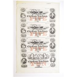 City Bank of New Haven, ca.1850's Uncut Sheet