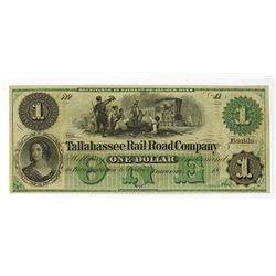 Tallahassee Rail Road Co., 18xx, ca.1850-60's Obsolete Banknote.