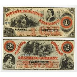 Augusta Insurance & Banking Co., 1860-61 Obsolete Banknote Pair.