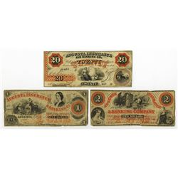 Augusta Insurance & Banking Co., 1860-61 Obsolete Banknote Trio.