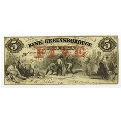 Bank of Greensborough, 1857 Obsolete Banknote.