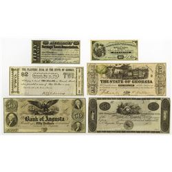 Georgia Obsolete Banknote and Scrip note Assortment.