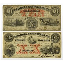 Georgia Savings Bank, 1863 Obsolete Banknote Pair.