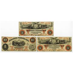 Merchants and Planters Bank, 1860 Obsolete Banknote Trio.