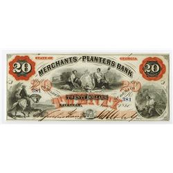 Merchants and Planters Bank, 1860 Obsolete Banknote.