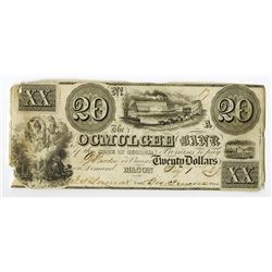 Ocmulgee Bank, 1839 Obsolete Banknote.