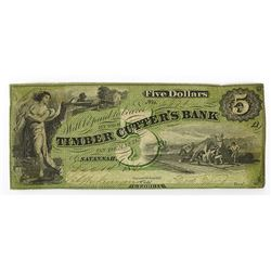 Timber Cutter's Bank, 1861 Obsolete Banknote.