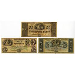 Citizens' Bank of Louisiana, ca.1840's Obsolete Banknote Trio.