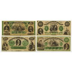 "Citizens' Bank of Louisiana, ca.1860's ""ABN""  Obsolete Banknote Quartet."
