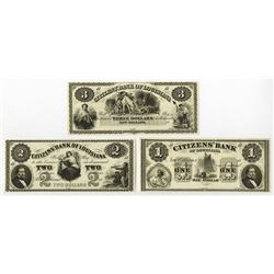 "Citizens' Bank of Louisiana, ca.1860's ""ABN""  Obsolete Banknote Trio."