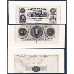 Citizens' Bank of Louisiana, Reprint Proof Trio.