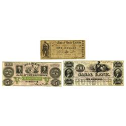 Obsolete Banknote Trio, ca. 1845 to 1862.