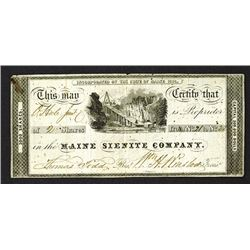 Maine Silenite Co. 1836 Stock Certificate.