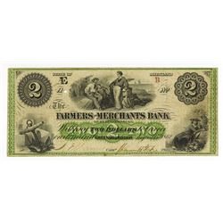 Farmers and Merchants Bank, 1862 Obsolete Banknote.