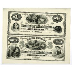 Bank of Michigan, ca. 1859-1860's Remainder Sheet Pair