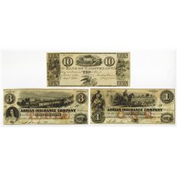 Michigan Obsolete Banknote Trio, ca.1830-1850's.
