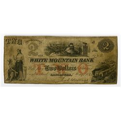 "White Mountain Bank, 1860 Issued ""Santa Claus"" Obsolete Banknote."