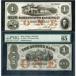 Bordentown Banking Co. & Sussex Bank, 1850s, Pair of Obsolete Notes