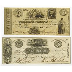 New Jersey Obsolete Banknote Pair, ca.1825 to 1828