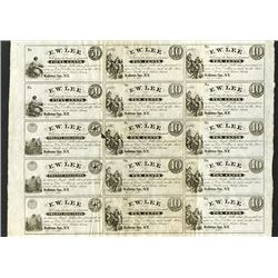 E.W. Lee, 1862 Uncut Scrip Sheet of 15 notes.