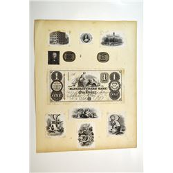 Manufacturers Bank, ca.1840s Proof Banknote on the Center of a Proof Vignette Sheet With Multiple Vi