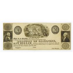 Borough of Gaysport, 1843 Obsolete Scrip Note.
