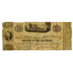 Borough of Hollidaysburg, 1841 Obsolete Scrip Note.