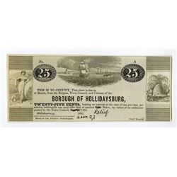 Borough of Hollidaysburg, May 13th (December 27th hand written in), 1841 Obsolete Scrip Note.