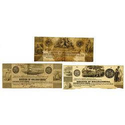 Borough of Hollidaysburg, 1843 Obsolete Scrip Note Trio.