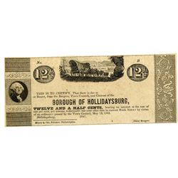Borough of Hollidaysburg, May 13th, 1841 Obsolete Scrip Note.