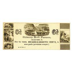Chimney Rock Furnace, ND ca.1830-40's, Obsolete Scrip Note.