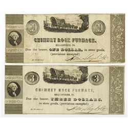 Chimney Rock Furnace, ND ca.1830-40's, Obsolete Scrip Note Pair.