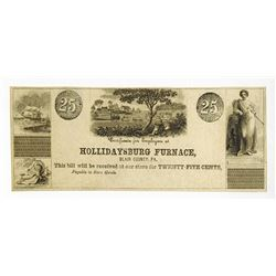 Hollidaysburg Furnace, ND, ca.1840-60's Obsolete Scrip Note.