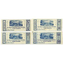 Indiana Iron Works, 1856 Obsolete Scrip Note Assortment.