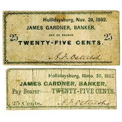 James Gardner, Bankers, November 1862 Obsolete Scrip Note Pair.