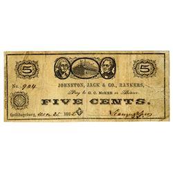 Johnston, Jack & Co., Bankers, December 1862 Obsolete Scrip Note.