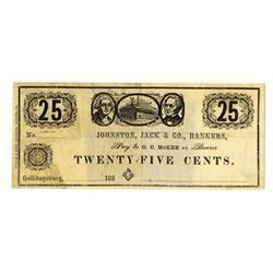 Johnston, Jack & Co., Bankers, December 1862 Obsolete Scrip Note Pair.