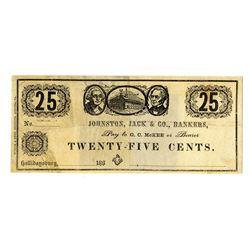 Johnston, Jack & Co., Bankers, December 1862 Obsolete Scrip Note Pair.