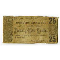 Johnston, Jack & Co., Bankers, October 1862 Obsolete Scrip Note.