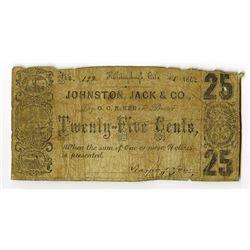Johnston, Jack & Co., Bankers, October 1862 Obsolete Scrip Note.