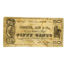 Johnston, Jack & Co., Bankers, November 1862 Obsolete Scrip Note Pair.