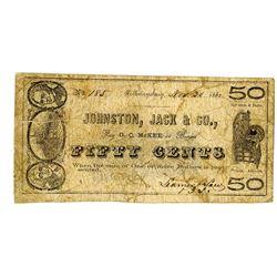 Johnston, Jack & Co., Bankers, November 1862 Obsolete Scrip Note Pair.