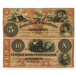 Central Bank of Pennsylvania, 1858 Issued Obsolete Banknote Pair.