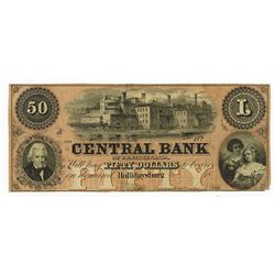 Central Bank of Pennsylvania, 1858 Remainder Obsolete Banknote.