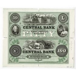 Central Bank of Pennsylvania, ca.1850's (Proprietary Proof ca.1960-80's) Uncut Proof Sheet.