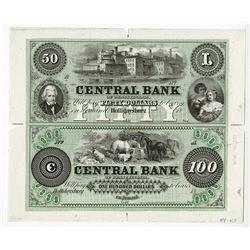 Central Bank of Pennsylvania, ca.1850's (Proprietary Proof ca.1960-80's) Uncut Proof Sheet.