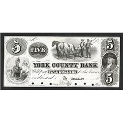 York County Bank, ca.1840-50 Proof Banknote.