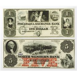 North Eastern Obsolete Banknote Pair.